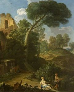Andrea Locatelli - Landscape with a Ruin and Two Figures on a Road