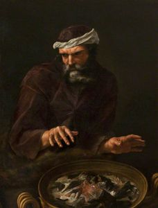 Andrea Sacchi - A bearded man warming his hands