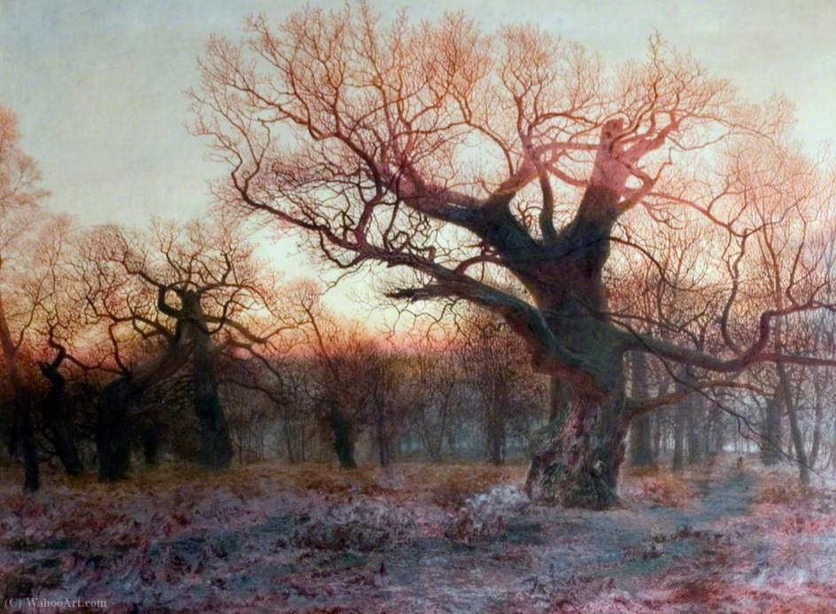 In Sherwood Forest, Nottinghamshire Winter Evening after Rain by Andrew Maccallum (1821-1902, United Kingdom) | Art Reproduction | WahooArt.com