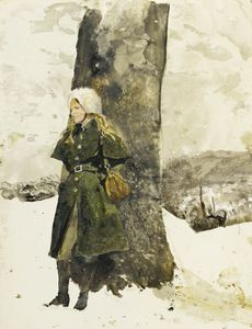 Andrew Wyeth - In the orchard (helga in orchard)