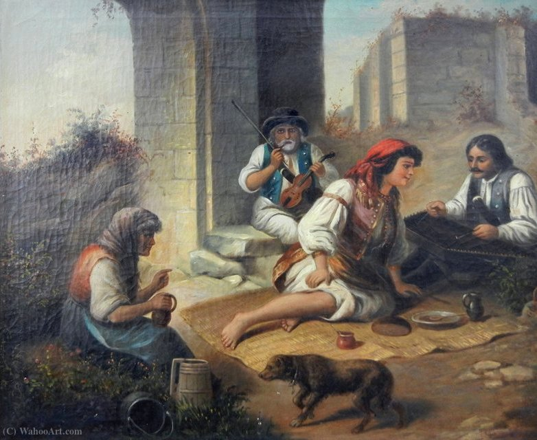 Landscape with gypsies by András Markó