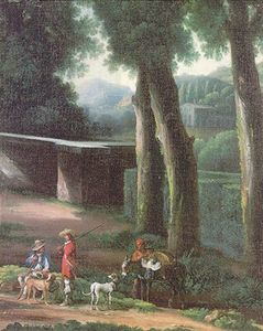 Angeluccio - A hunting party in wooded Italianate landscape