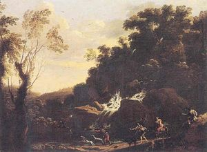 Angeluccio - Landscape with hunting scene