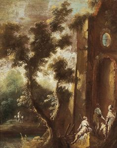 Angeluccio - Landscape with ruins and figures