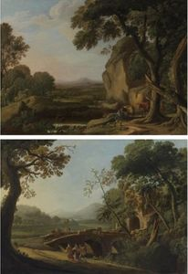 Angeluccio - Landscapes with travellers (2 works)