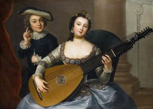 Anna Dorothea Therbusch - Woman playing a lute