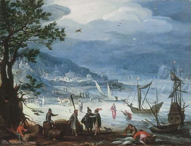 A coastal landscape with fishing boats and peasants disembarking, the Calling of Saint Peter beyond by Anthonie Mirou (1578-1621, France)
