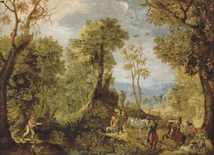 Anthonie Mirou - Hunters in a wooded landscape with a village and an extensive landscape beyond
