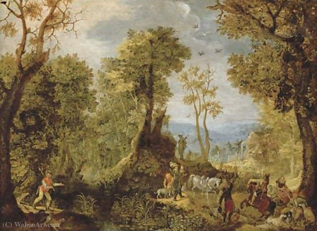 Hunters in a wooded landscape with a village and an extensive landscape beyond by Anthonie Mirou (1578-1621, France)
