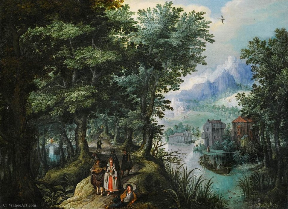 River landscape by Anthonie Mirou (1578-1621, France) | Museum Quality Reproductions | WahooArt.com