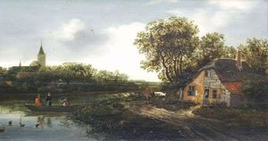 Anthonie Van Borssom - Farmhouse on the river