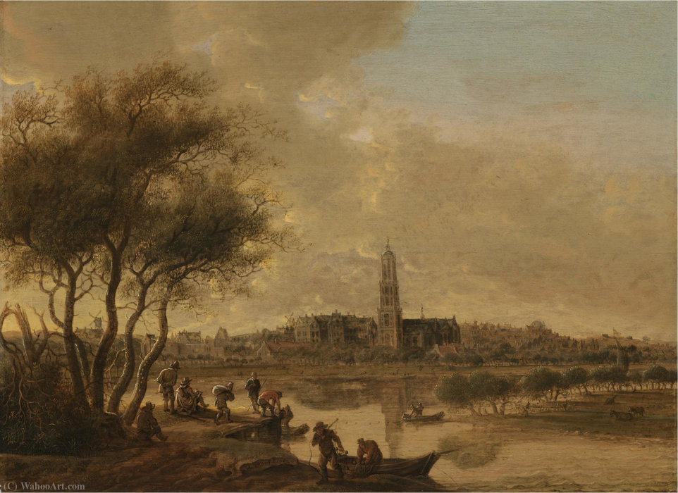 Order Museum Quality Copies | A panoramic view of rhenen seen from the south bank of the nederijn, with the church of st cunera by Anthony Jansz Van Der Croos (1606-1662) | WahooArt.com