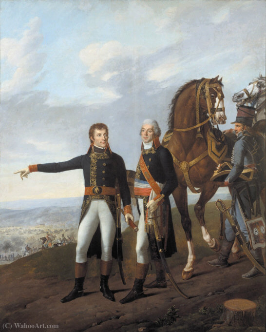 Order Paintings Reproductions | General Bonaparte and his chief of staff Berthier at the Battle of Marengo by Antoine Charles Horace Vernet Aka Carle Vernet (1758-1836, France) | WahooArt.com