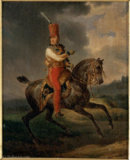 Order Art Reproductions | Louis-Philippe I, Duke of Orleans then in the uniform of Colonel-General of Hussars (1773 - (1850).) by Antoine Charles Horace Vernet Aka Carle Vernet (1758-1836, France) | WahooArt.com