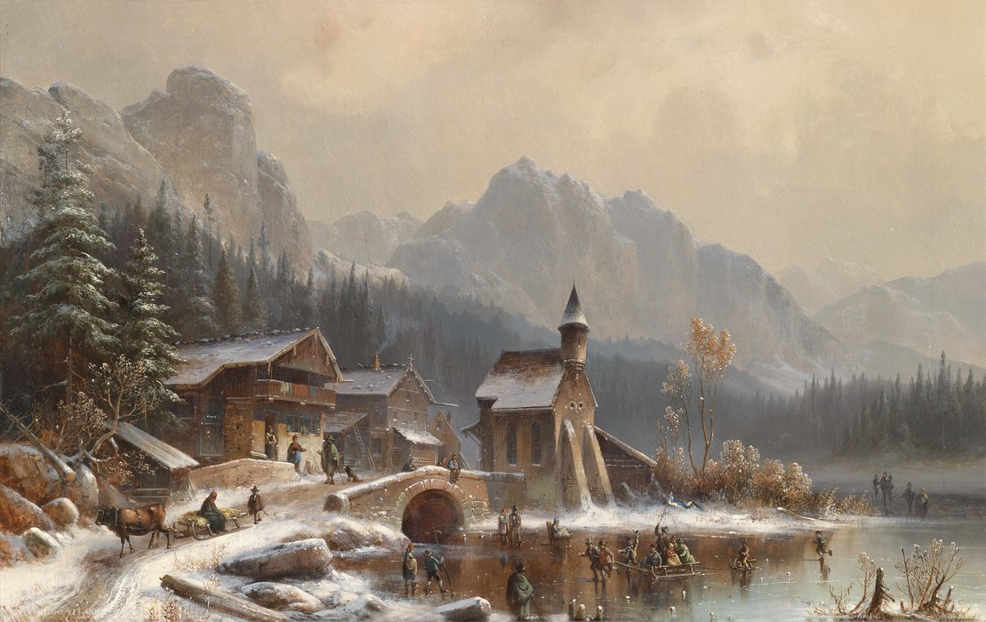 Winter pleasures by Anton Doll (1826-1887, Germany) | Museum Quality Reproductions | WahooArt.com