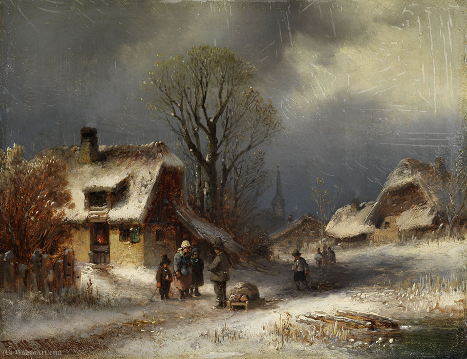 Winter village scene by Anton Doll (1826-1887, Germany)