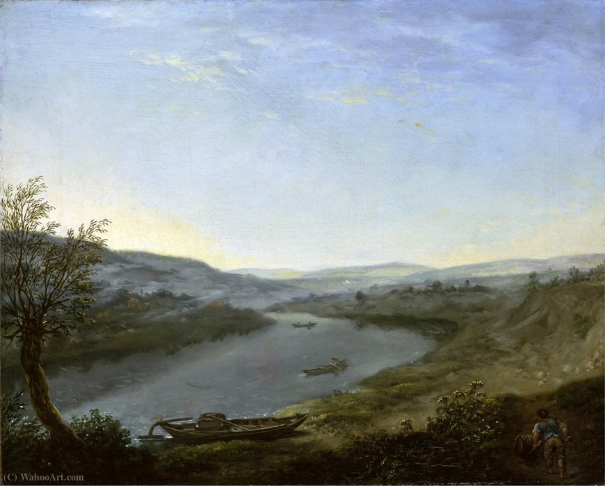 The Elbe at blowing joke above Dresden in the morning by Anton Graff (1736-1813, Switzerland) | Art Reproductions Anton Graff | WahooArt.com