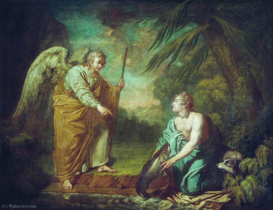 Tobias with the angel by Anton Pavlovich Losenko (1737-1773, Russia) | WahooArt.com
