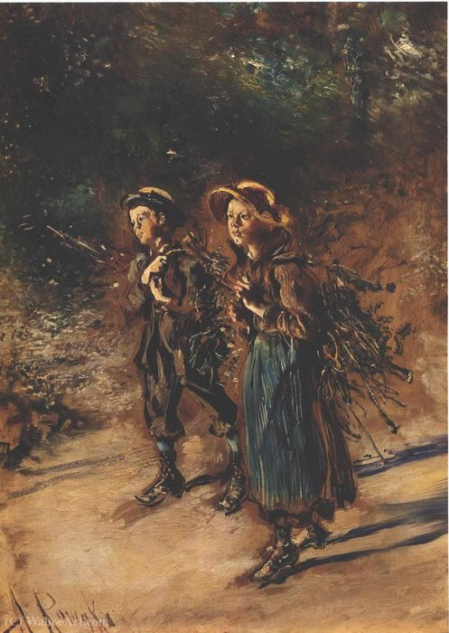 Children collecting twigs by Anton Romako (1834-1889, Austria)