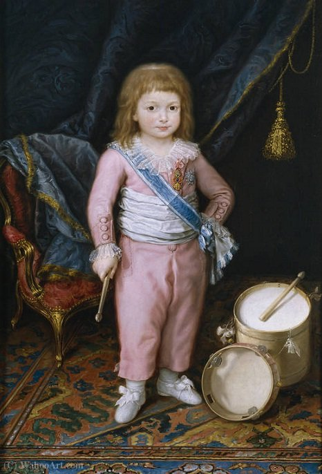 An infant with drum and tambourine by Antonio Carnicero Y Mancio (1748-1814, Spain) | Art Reproduction | WahooArt.com