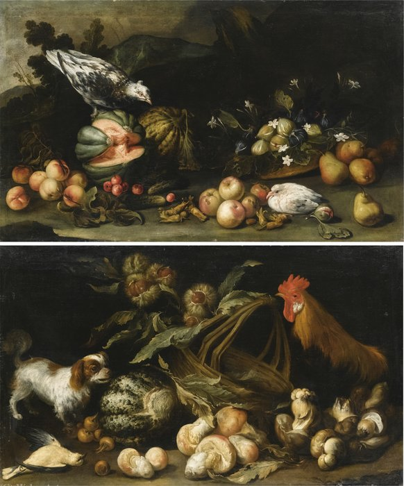 A forest floor still life with a dog, a cockerel, horse chestnuts and a melon; a forest floor still life with figs, pears, melons, apricots and cucumbers by Antonio Maria Vassallo (1620-1664, Italy) | Museum Quality Reproductions | WahooArt.com