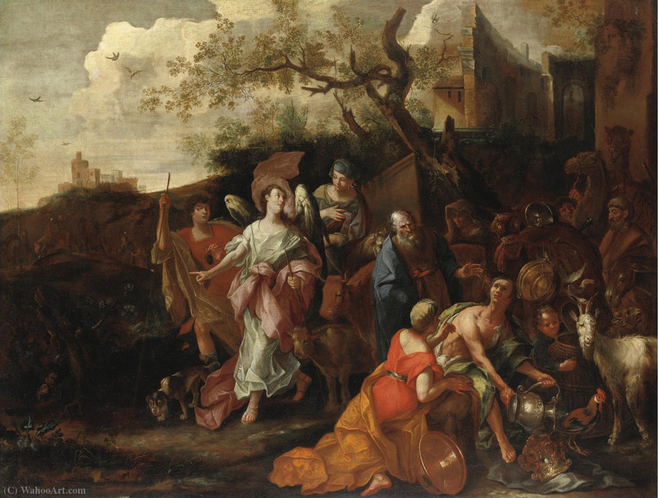 ABRAHAM we VISITED BY ANGELS by Antonio Maria Vassallo (1620-1664, Italy) | Art Reproduction | WahooArt.com