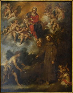 Order Famous Paintings Reproductions : Blessed Andrea da Spello brings Water from a Rock by Antonio Maria Vassallo (1620-1664, Italy) | WahooArt.com