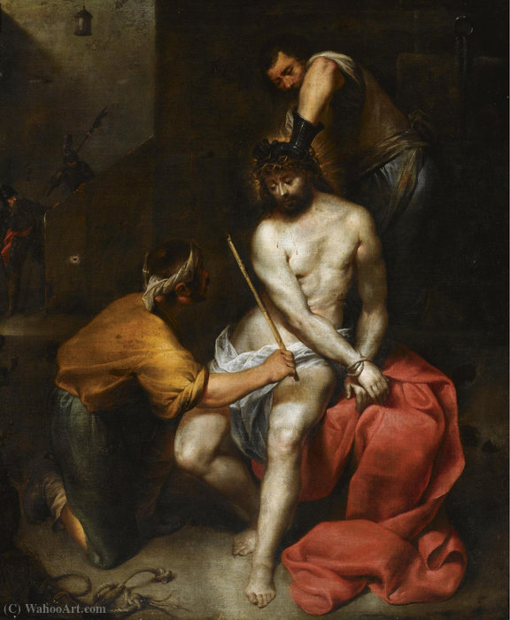The flagellation of christ by Antonio Maria Vassallo (1620-1664, Italy) | Painting Copy | WahooArt.com