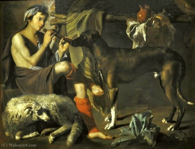 The shepherd playing his flute. by Antonio Maria Vassallo (1620-1664, Italy) | Museum Quality Reproductions | WahooArt.com