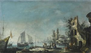 Antonio Stom - A capriccio harbour view with figures conversing and ships at anchor