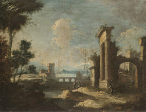 Antonio Stom - An italianate river landscape with pastoral figures amongst classical ruins