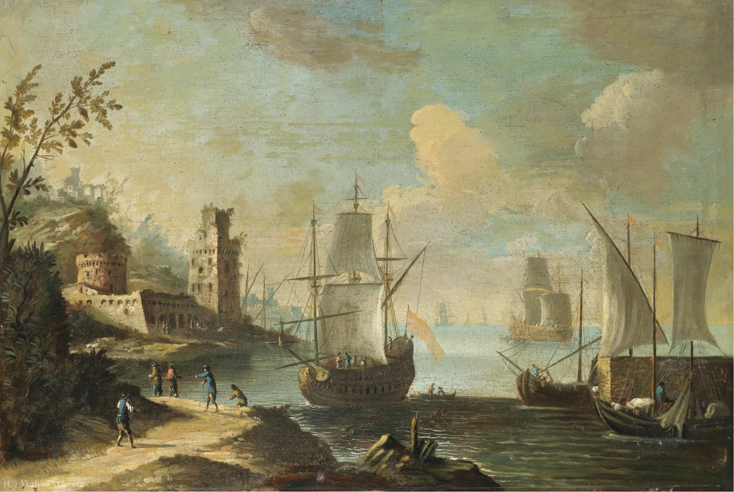Mediterranean harbour scene with figures on a path in the foreground, a fort beyond by Antonio Stom (1688-1734, Italy) | Paintings Reproductions Antonio Stom | WahooArt.com