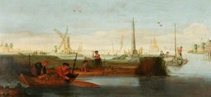 Arent Arentsz Cabel - River Scene with Fishermen in a Rowing Boat in the Foreground