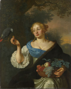 Arie De Vois - A young woman with a parrot