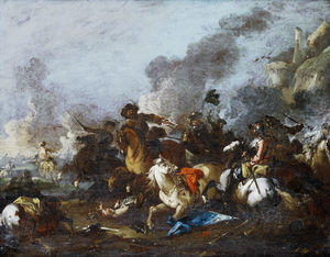 August Querfurt - A cavalry skirmish