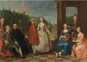 Balthasar Beschey - A portrait of Jacques-Jean Cremers (1736-after and his wife, dancing, on a garden terrace surrounded by other members of the family playing music (1803))