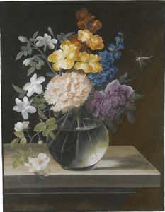 Barbara Regina Dietzsch - Still life with a carnation, briar rose and other flowers in a glass vase