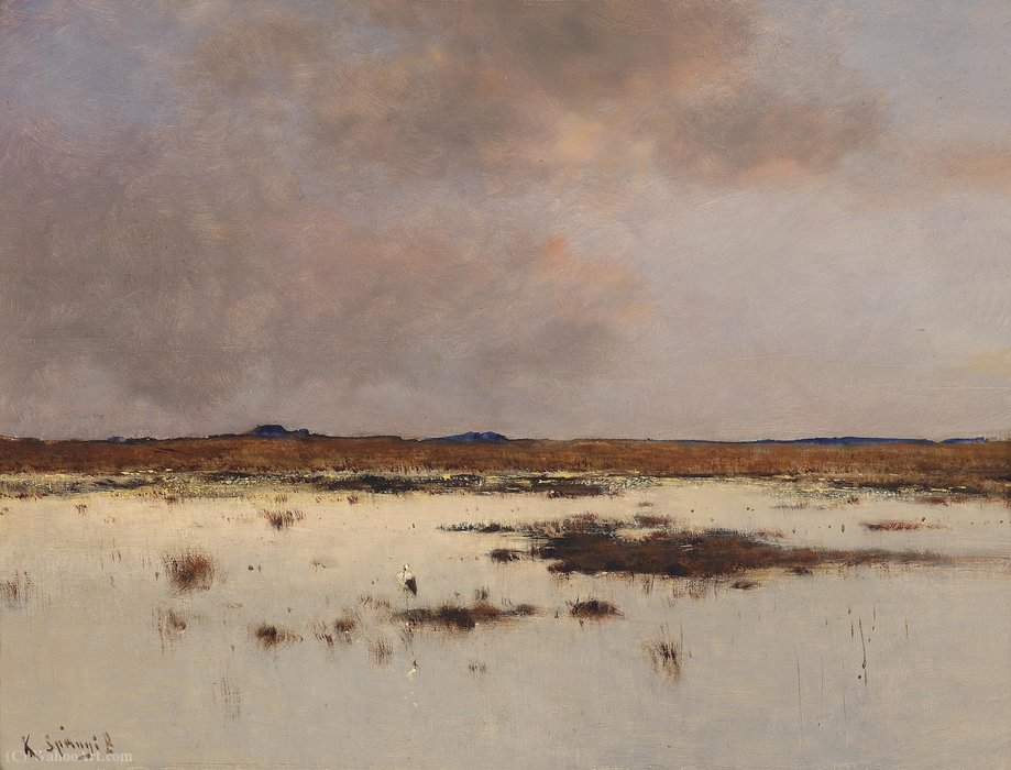 Evening atmosphere over a river landscape by Bela Spanyi (1852-1914) | WahooArt.com