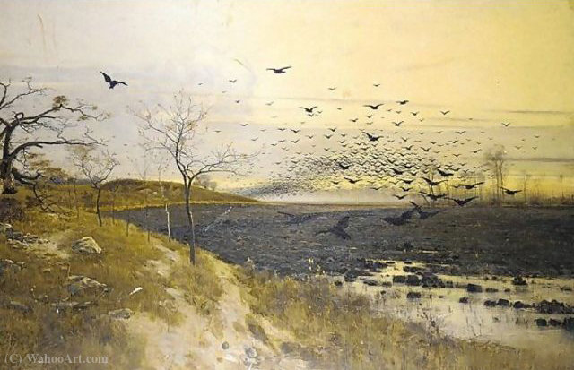 Flock of birds at sunset by Bela Spanyi (1852-1914)