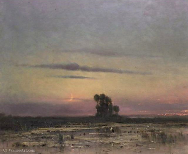 Moonlit landscape with stork by Bela Spanyi (1852-1914)