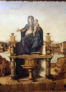 Benedetto Diana - Madonna and Child Enthroned with St. Jerome, St. Francis of Assisi and donors