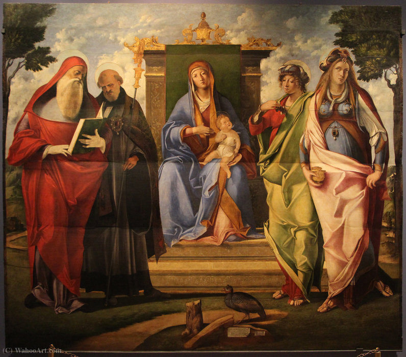 Мadonnain throne among ss. girloamo, blessed, Maddalena and giustina by Benedetto Diana (1460-1525, Italy)