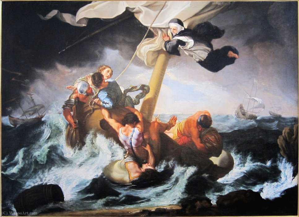 Order Painting Copy : Sainte Catherine Thomas saves a ship sinking by Benedetto Luti (1666-1724, Italy) | WahooArt.com