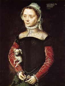Catharina Van Hemessen - Portrait of a Woman with Dog