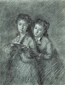 Celestin Francois Nanteuil - Double portrait of two sisters at the common reading
