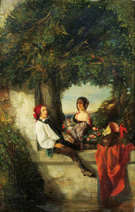 Celestin Francois Nanteuil - Young couple under a tree