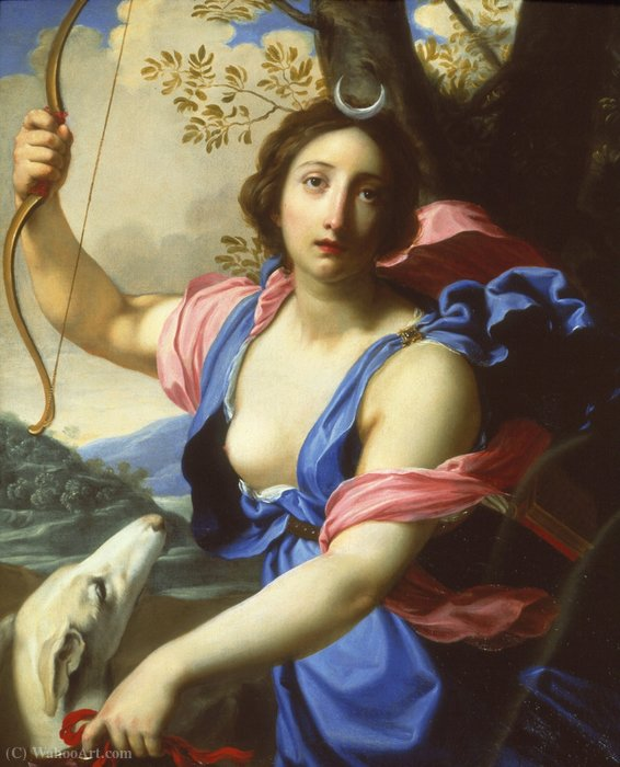 Diana with a dog by Cesare Dandini (1596-1657, Italy) | Museum Quality Reproductions | WahooArt.com
