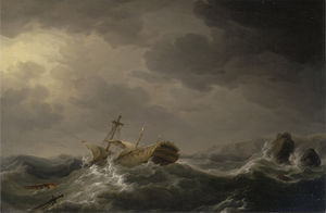 Charles Brooking - Ship wrecked on a rocky coast