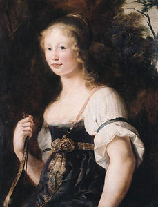 Christiaen Van Couwenbergh - A portrait of a young woman as Diana, standing half length in a landscape, wearing a green dress and chemise, a wrap around her waist - a fragment