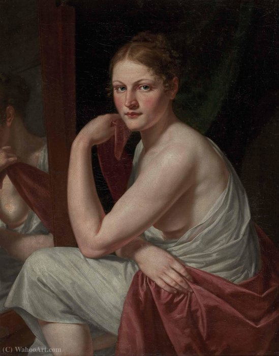 Seated Young Woman with mirror image by Christian Gottlieb Schick (1776-1812, Germany)